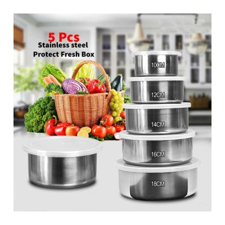 Stainless Steel Food Box- 5 Pieces