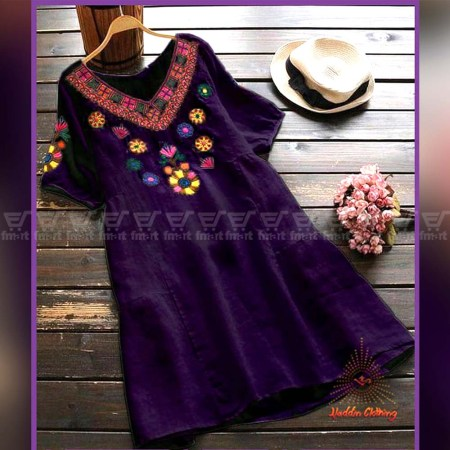 Women Purple Short Shirt With Exclusive Embroidery Work (KP-12)