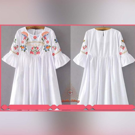 Women White Short Shirt With Exclusive Embroidery Work