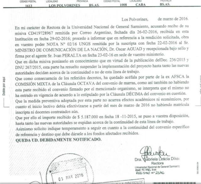 CARTA DOCUMENTO UNGS