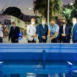 Uñac puso en valor la recuperación de la histórica fuente de avenida Libertador y Las Heras