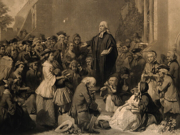 When forbidden from preaching from the pulpits of parish churches, Wesley began open-air preaching.