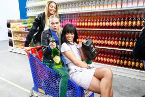 Cara Delevingne and Rihanna in a shopping cart holding Chanel branded items