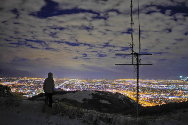 Radio blankets the city at night.