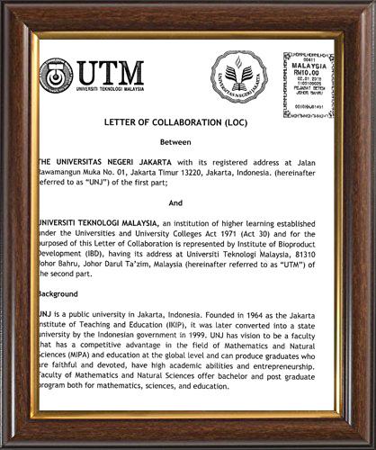 PENANDATANGANAN LOC (LETTER OF COLLABORATION) ANTARA UNIVERSITAS NEGERI JAKARTA, FMIPA UNIVERSITAS NEGERI JAKARTA DENGAN UNIVERSITAS TEKNOLOGI MALAYSIA (UTM),   INSTITUTE OF BIOPRODUCT DEVELOPMENT (IBD)