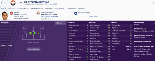 Craques do FM2019 - Atakan Akkaynak