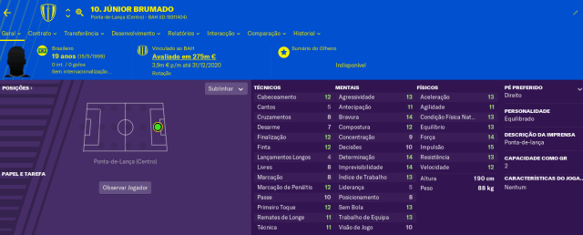 Craques do FM2019 - Junior Brumado