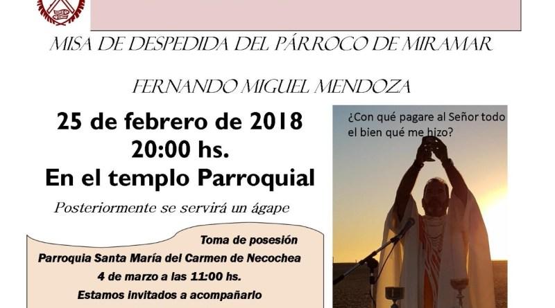 Misa despedida del Padre Fernando Mendoza