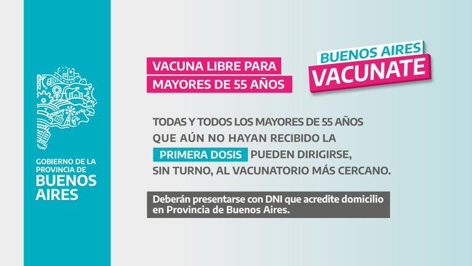 Vacunación libre para mayores de 55 años