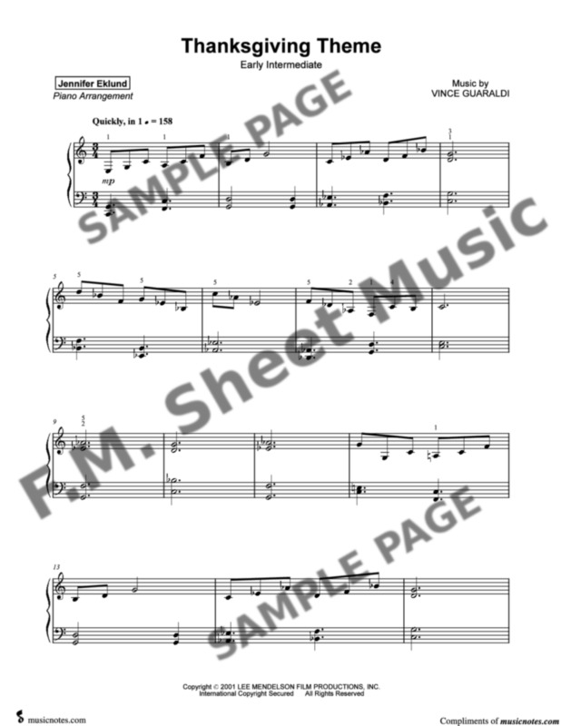 Thanksgiving Theme (Early Intermediate Piano) By Vince