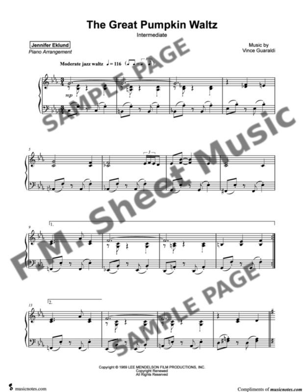 The Great Pumpkin Waltz (Intermediate Piano) By Vince