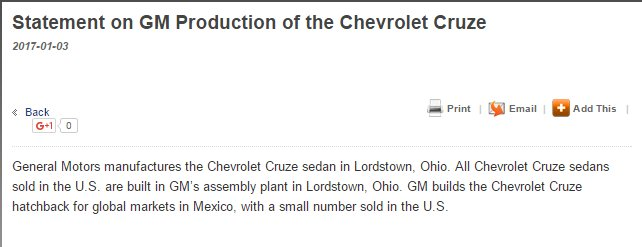 GM Lies to Trump, Public About Chevy Cruze Production