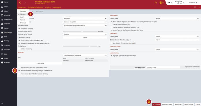 Football Manager 2016_ Preferences Interface