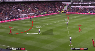 Skrtel, positioned wide on the right, receives the ball from Mignolet and Eriksen immediately presses him, while cover-shadowing Lucas at the same time. N'Jie and Kane cover-shadow the remaining short passing options.