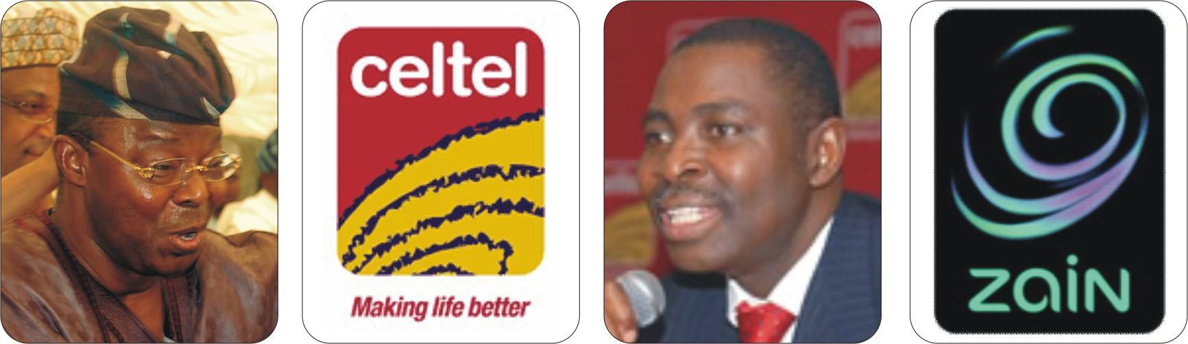 L-R, Oba Otudeko, Celtel logo, Bayo Ligali, Zain logo