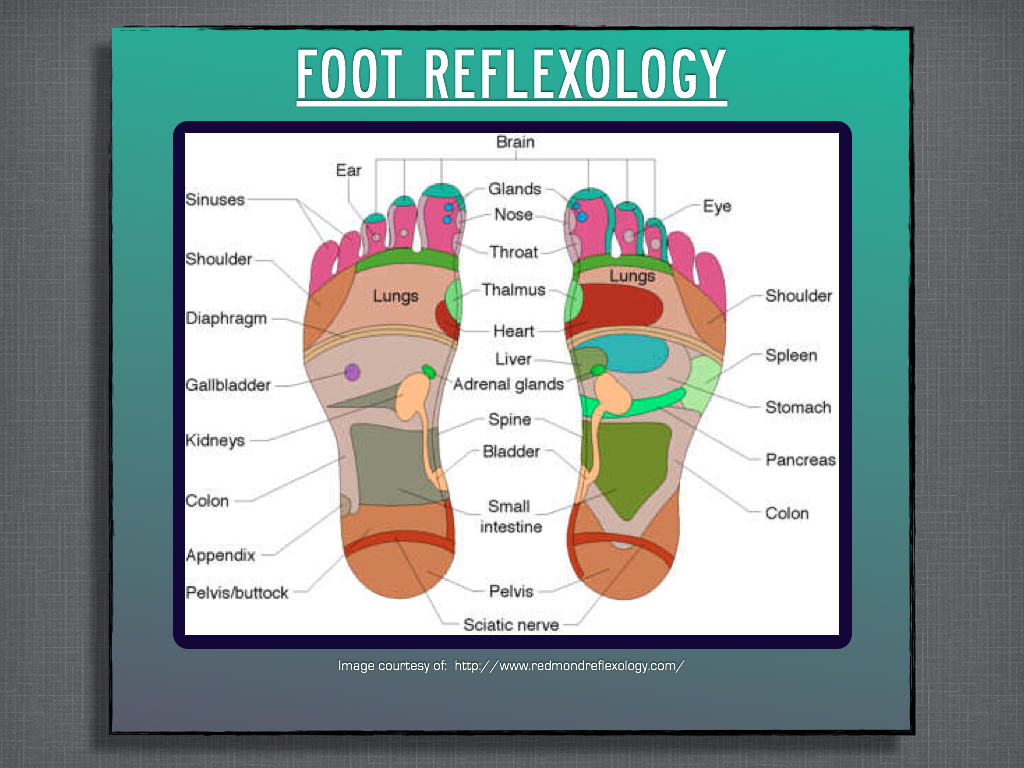 Foot reflexology diagram