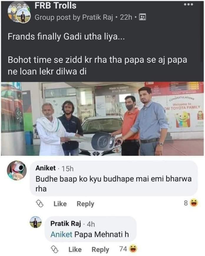 Pratik raj facebook post guy who bought car with loan