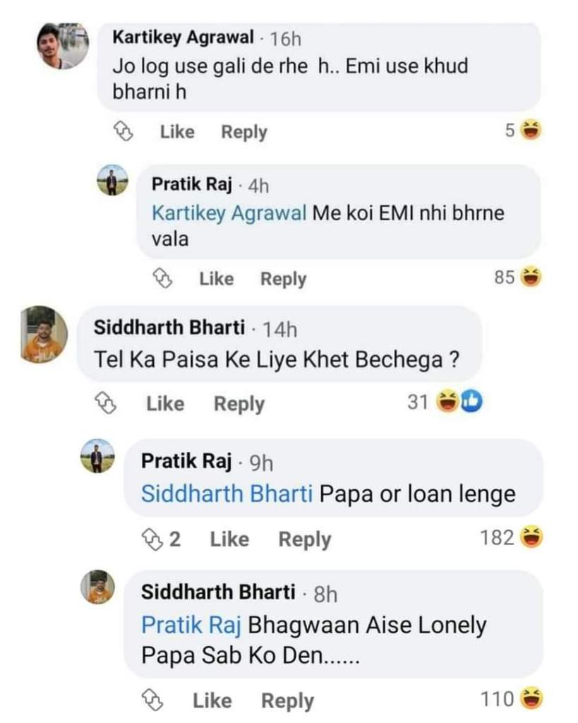 Pratik raj FRB Trolls' post facebook