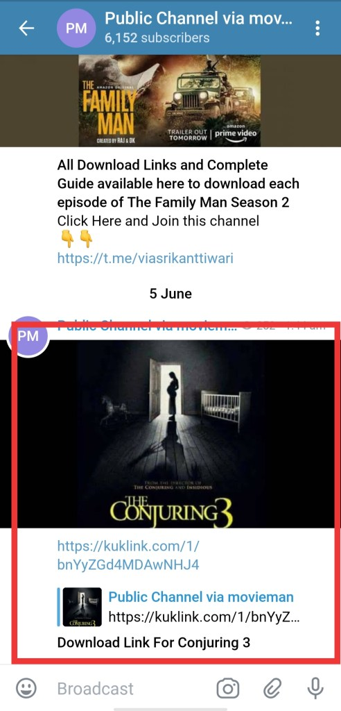 Conjuring 3 full movie free download with Telegram Link. Just follow these steps