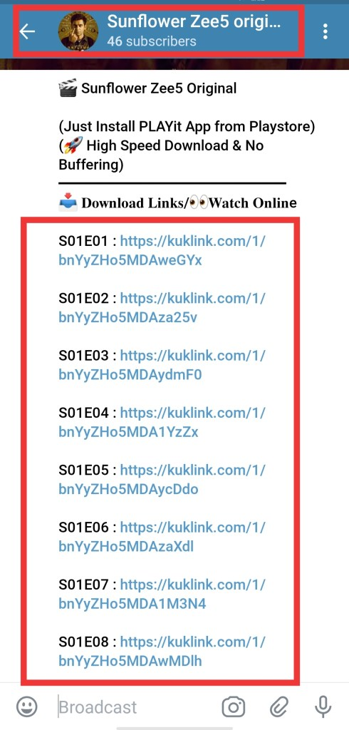 sunflower web series telegram link download free 480p, 720p 1080p