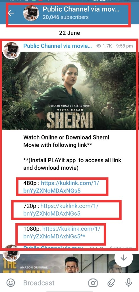 Sherni movie telegram channel link full movie free download 480p, 720p and 1080p.
