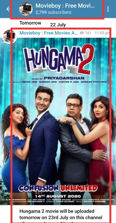 hungama 2 telegram channel link free download in 480p 720p and 1080p