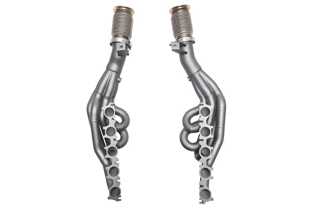 Exhaust headers with titanium high temp coating, performed by FNG's Engine Components Coating Services