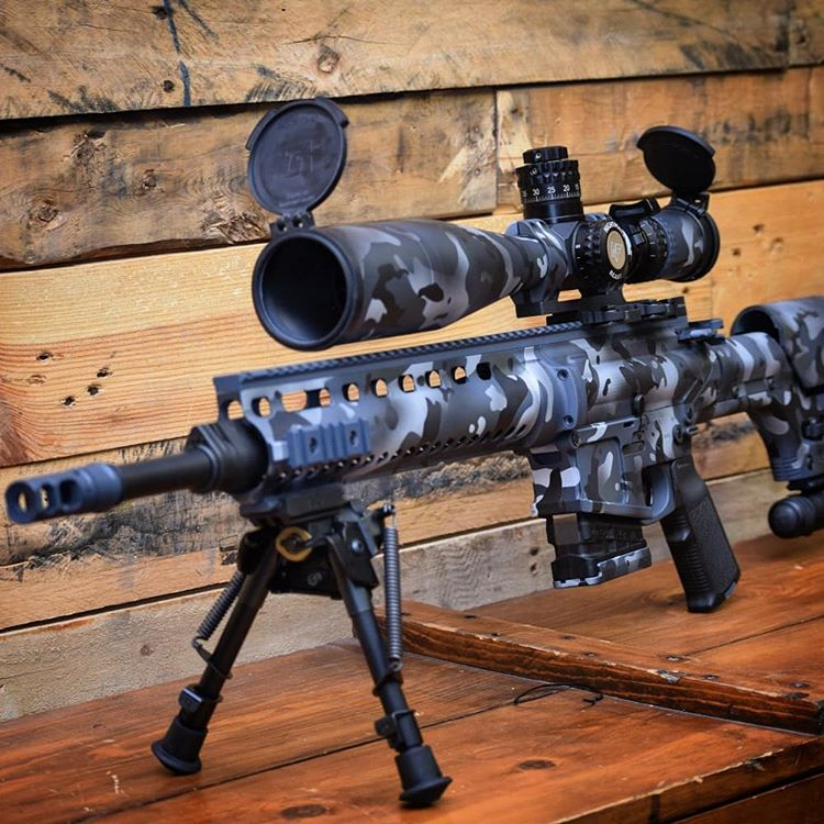 Custom cerakote coated AR rifles and optics with FNG designed multicam, by FNG precision Coatings