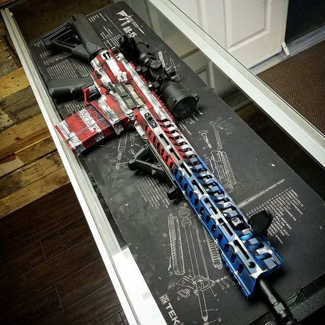 PAtriotic design in Cerakote on AR rifle, by FNG Precision Coatings