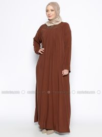 Brown - Unlined - Crew neck - Plus Size Dress