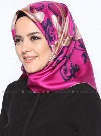 Pink - Multi - Printed - Twill - %100 Silk - Scarf