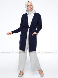Navy Blue - Shawl Collar - Cardigan