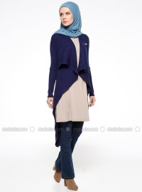 Navy Blue - Shawl Collar - Cardigan - TUBA