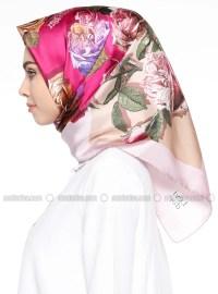 Powder - Pink - Multi - Printed - Twill - %100 Silk - Scarf