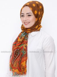 Brown - Tan - Printed - Shawl