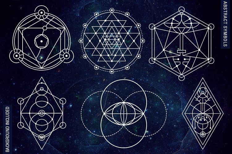 100 Sacred Geometry Symbols By Pixaroma Design Bundles