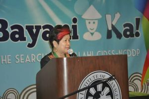 """Social Welfare Secretary Corazon """"Dinky"""" Soliman giving her message to the awardees"""