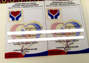 The alleged fake IDs being given to victims in exchange of Php 200 pesos and false inclusion to Pantawid Pamilyang Pilipino Program.