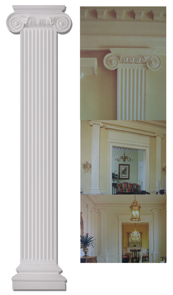 "Fireplace Vent 9.8"" Wide Flat Ionic Column Set #fdc 6086"