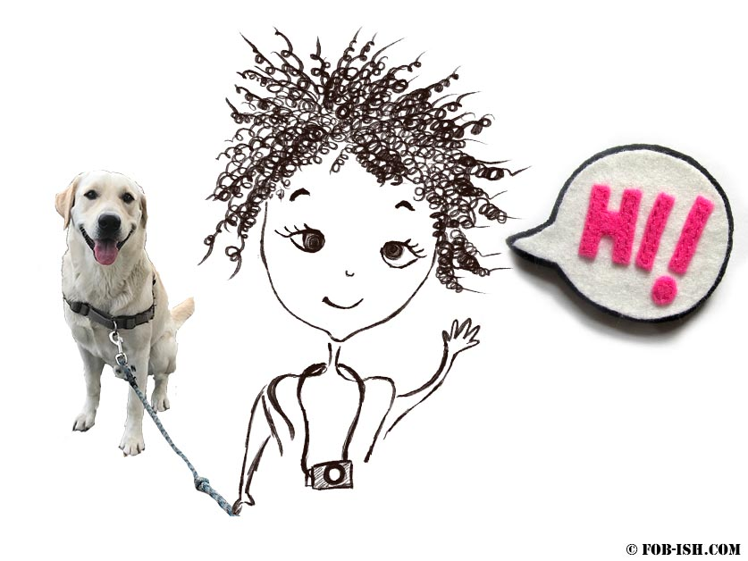 cartoon of curly haired girl saying hi with her dog by the side