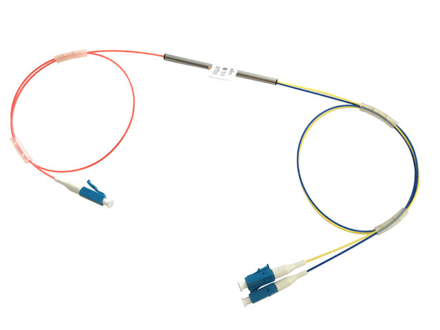 Single Mode 1x2 Fused Fiber Optic Coupler with LC Connectors