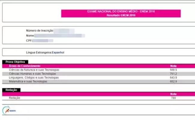 Resultado Enem 2017 Página Do Participante Inep