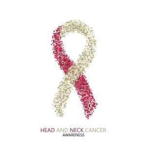 Vector modern head and neck cancer awareness circles desigen. Colorful ribbon isolated on white background