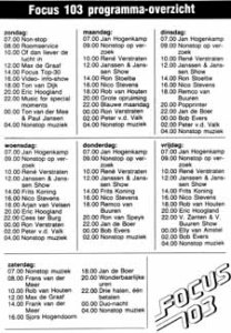 Programma Maart 1986
