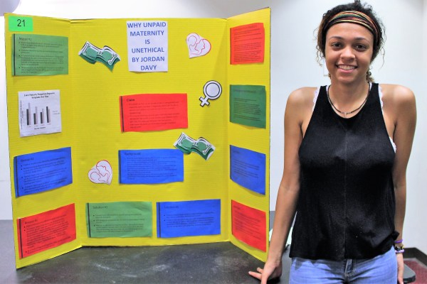 """3rd Place Poster: Jordan Davy, """"Why Unpaid Maternity Leave is Unethical"""""""