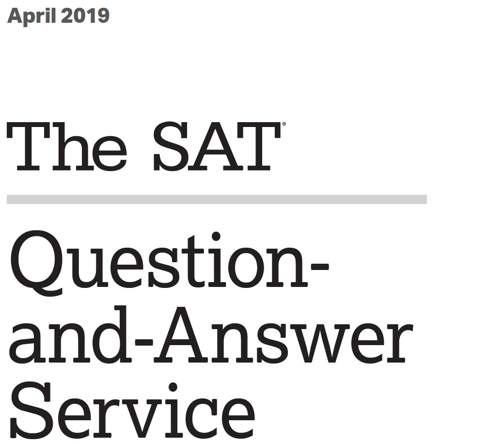 April 2019 SAT Tests