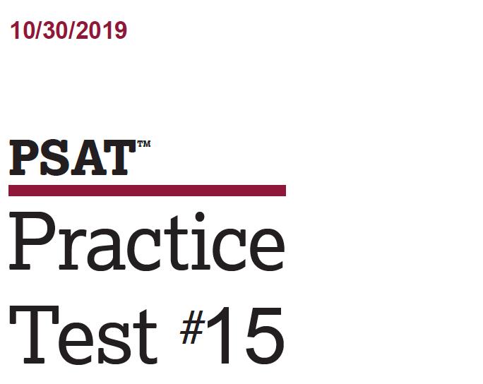 October 2019 PSAT Test - 10-30-2019