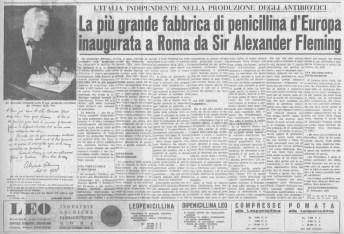 Articolo di giornale che parla dell'inaugurazione della Leo Farmaceutica alla presenza di Alexander Fleming