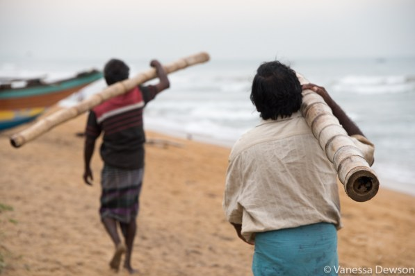 Fishermen at work on Wadduwa Beach, Sri Lanka