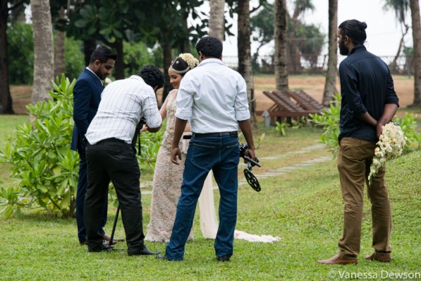 Wedding photographers at work, Wadduwa, Sri Lanka.